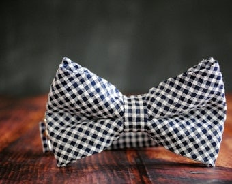 Men's Self-Tie Freestyle Pre-Tied Bow Tie - Navy Blue Gingham