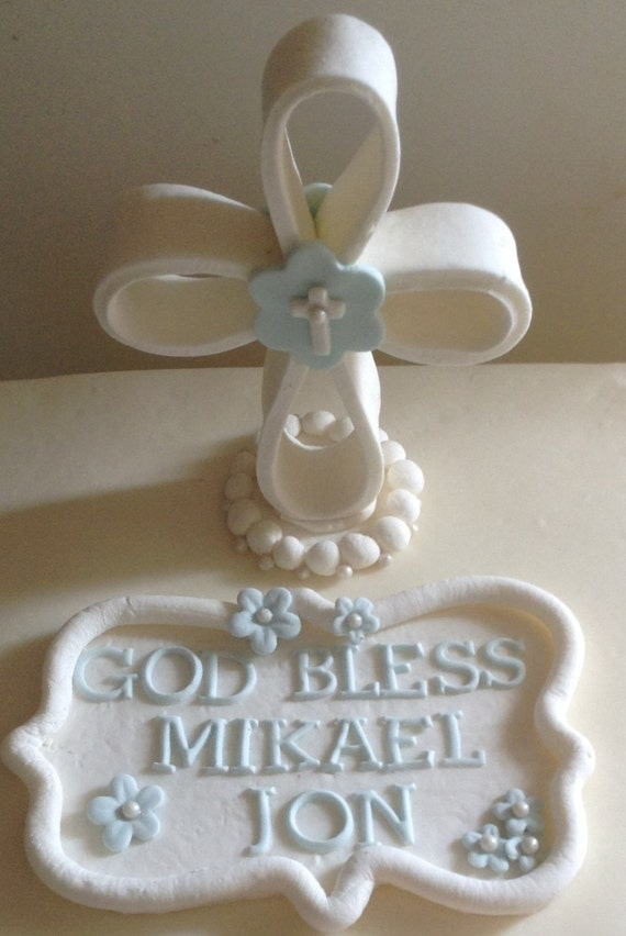 Items similar to CHRISTENING Communion Cake Topper Fondant ...