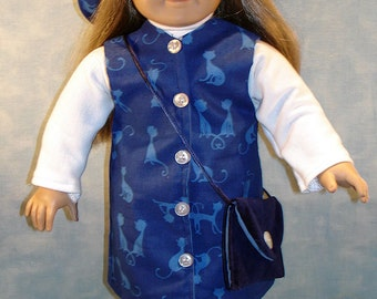 18 Inch Doll Clothes -  Blue Cat Jumper 6 pc. Outfit handmade by Jane Ellen to fit 18 inch dolls