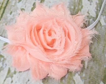 Peach Shabby Chic Flower on a Skinny Headband,  Newborn Headband, Infant Headband, Photo Prop, Many Colors