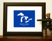 Unique WEDDING GUESTBOOK - Custom Map - Journey Map of the Great Lakes of America