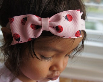 Pink Lady Bug Hair Bow Headband, Toddler Girl Hairbow, Newborn Headband, Girls Headband, Baby Girl Hair Bow, Infant Headband