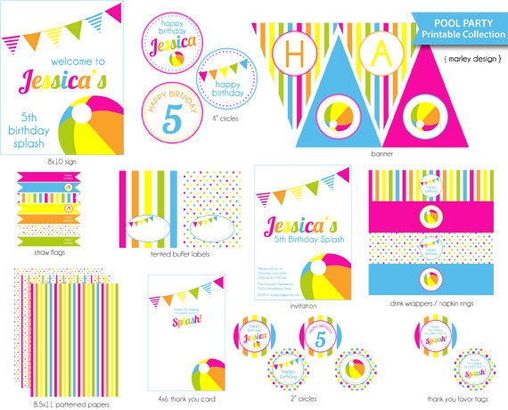 Pool Party Centerpiece Ideas the kissing booth blog best summer party ideas aloha luau party Pool Party Printables Package Diy Pool Birthday Party Printable Pool Party Decorations Diy Digital