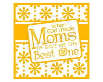 When God Made Moms Best Square Tile Vinyl Wall Home Decal Sticker