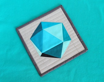 """Spinning Icosahedron SINGLE Quilt Block - 8"""" and 18"""" Version - Paper Pieced PATTERN - PDF"""