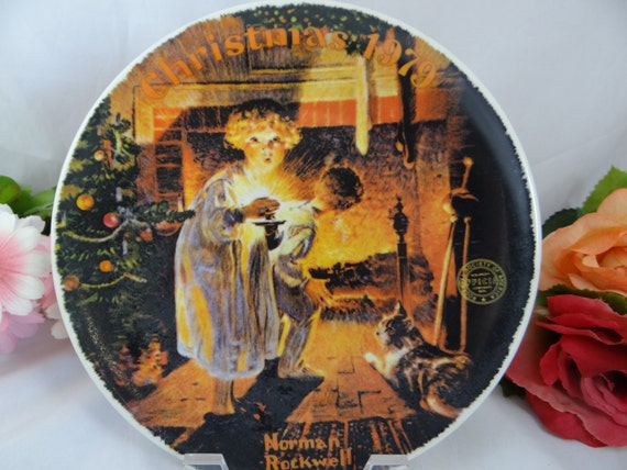 "1979 Edwin Knowles Norman Rockwell ""Somebody's Up There"" Christmas Collector Plate Limited Edition"