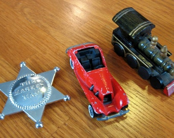 Lot of 3 Vintage Toys- Train, Car, and Sheriff Badge