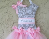 Hair Bow Holder Tutu Grey and Pink Floral Personalized Gray and Pink   Turnaround time 3 weeks