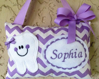 Tooth Fairy Pillow Chevron Lavender  Personalized