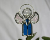 Stained Glass Denim Blue Boy Angel Plant Stake, Garden Art, Male Angel