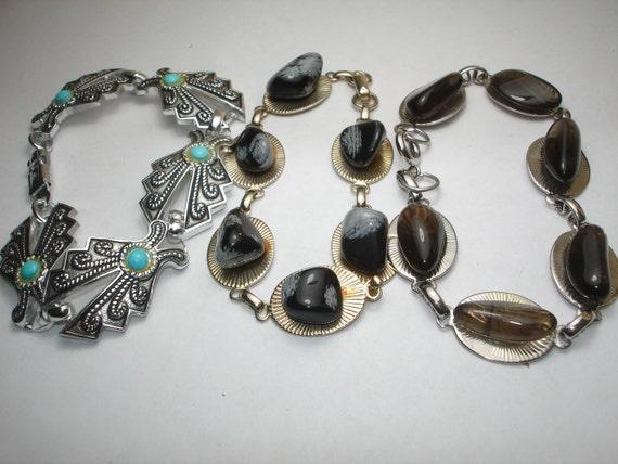 Vintage 3 Bracelets  Silvertone Snowflake Obsisian, Smokey Quartz, Turquoise.