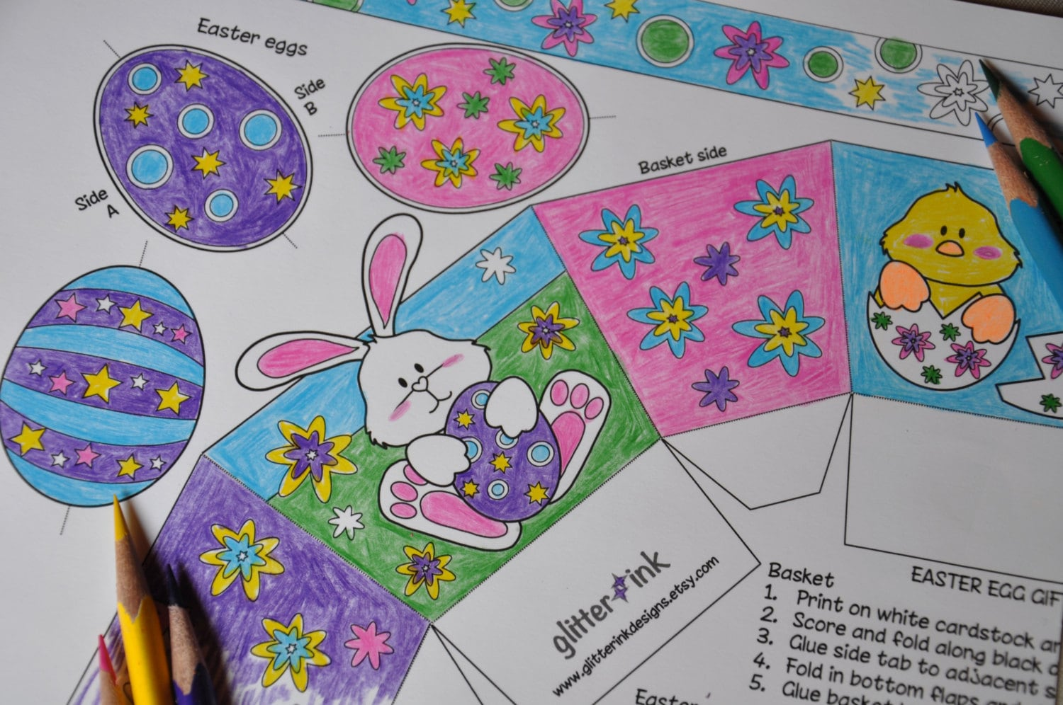 diy color in pdf printable easter basket craft activity box