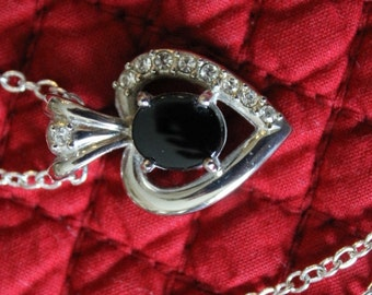 Silver Heart with Black Onyx Center and Rhinestones down the left side, Valentine's Day gift, Birthday gift, Christmas gift, Communion gift