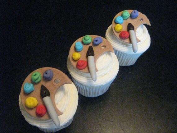 Artist Palette Fondant Cupcake Toppers