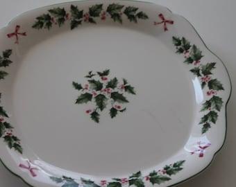 Vintage Fine Bone China Christmas Holly Plate Nikeo Japan