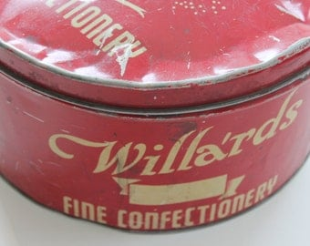 Vintage Large Red & Cream Willards Confectionary Tin