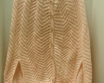 Vintage handwoven poncho shaw with fringe