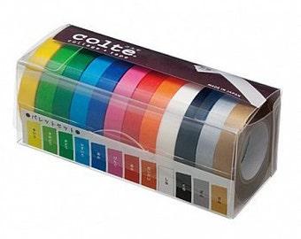 Colte Washi Masking Tape  Colour Palettes  10mm Set 12  Bright Colours   CP031