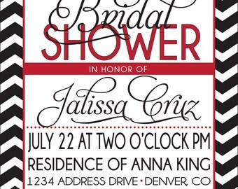 BRIDAL SHOWER INVITATION red and black
