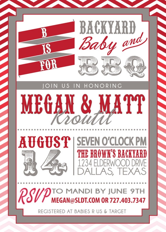 couples bbq baby shower invitation babyq ombre by sldesignteam