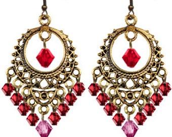 Red-Pink-Swarovski-Crystal-Antique Gold Tone-Earrings-Chandelier-Filgree