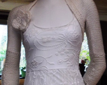 WEDDING BOLERO Ivory Cream angora flower brooch