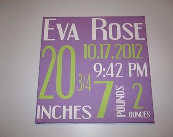 Canvas Wall Hanging - Birth Announcement