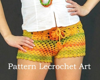 Pattern crochet womens shorts color of summer pattern beach