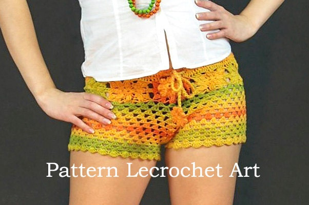 Crochet pattern womens shorts pattern beach shorts by LecrochetArt