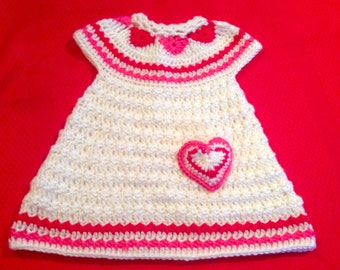 Crochet Pattern for Baby Toddler Jumper Dress, Hearts of Love, PDF 12-094 INSTANT DOWNLOAD