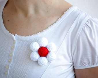 White red beaded balls brooch original easy summer thread cotton for women textile natural valentines day