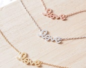 """Rose Gold """"LOVE"""" Word Pendant Necklace"""