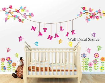 Floral Wall Decal - Wall Monogram Decal - Hanging Name Wall Decal
