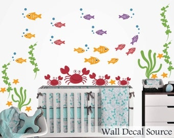 Nursery Wall Decal - Fish Wall Decal - Crab Wall Decal - Fish Decal - Ocean Decals - Crab Decals - Boy Wall Decals - Aquatic Wall Decals