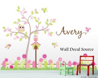 Nursery Tree Decal - Vinyl Nursery Tree Wall Decal - Fenced Garden Decal