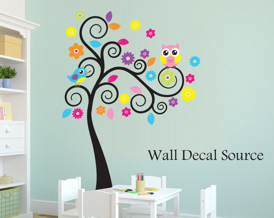 Colorful swirly tree decal owl wall tree nursery wall tree zoom amipublicfo Gallery