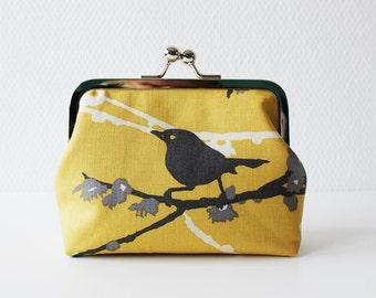 Coin Purse / Metal Frame Purse / Change Purse / Kisslock Purse -  Bird - Grey and Yellow