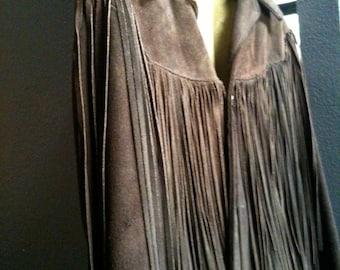 Vintage Dark Brown Suede Jacket with Epic fringe