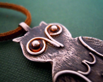 Rustic Owl Sterling Silver Long Pendant with Burnt Orange Cord and Eyes