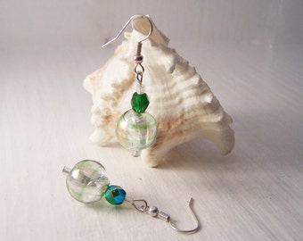 REDUCED PRICE, Handmade Green Czech Glass Earrings, Green Glass Bead Earrings
