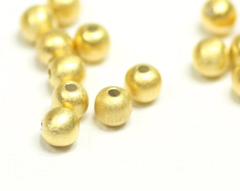 2mm Matte Gold Round Beads, 22K Gold Plated Sterling Silver, for Jewelry Making, Choose Quantity, 22-3