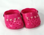 Hand Embellished Pink Clogs To Fit American Girl Doll