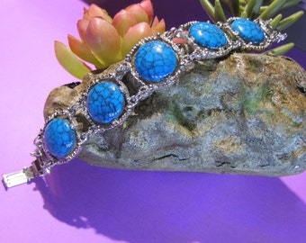 Turquoise Blue Vintage Jewelry Silver Tone Bracelet 7 1/4