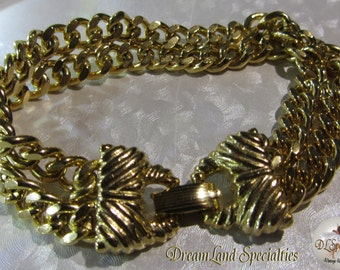 Goldette Two Strand Chain Bracelet Vintage Jewelry 7 1/2