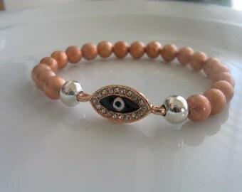 Rose pink gold colored evil eye bracelet - evil eye jewelry, rose gold bracelet, pink gold bracelet, evil eye bracelet, evil eye charm, rose