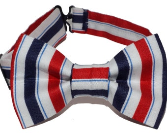 Bow Tie - Red, White and Blue Striped Bowtie