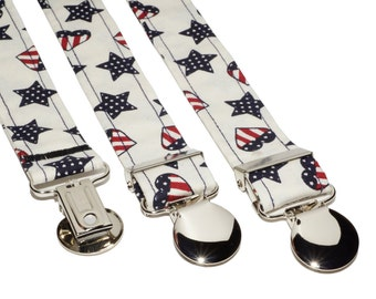 Suspenders - White with American Flag Shapes Adjustable Suspenders