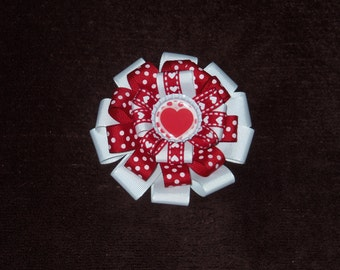 NEW Valentine's Day Hearts bottlecap hairbow clip red and white grosgrain alligator clip