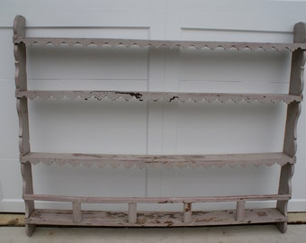 French Plate Rack, Blue Gray with Original Red Painting Showing Thru