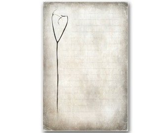 Lined Stationery Notepad   60 Sheets   Heart Shaped Twig   Chipboard    Protected In  Free Lined Stationery